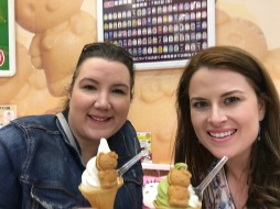 Jill and I enjoying Hello Kitty waffles and soft serve, Tokyo